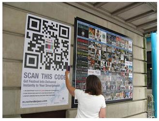 QR en un anuncio o cartelera para un evento
